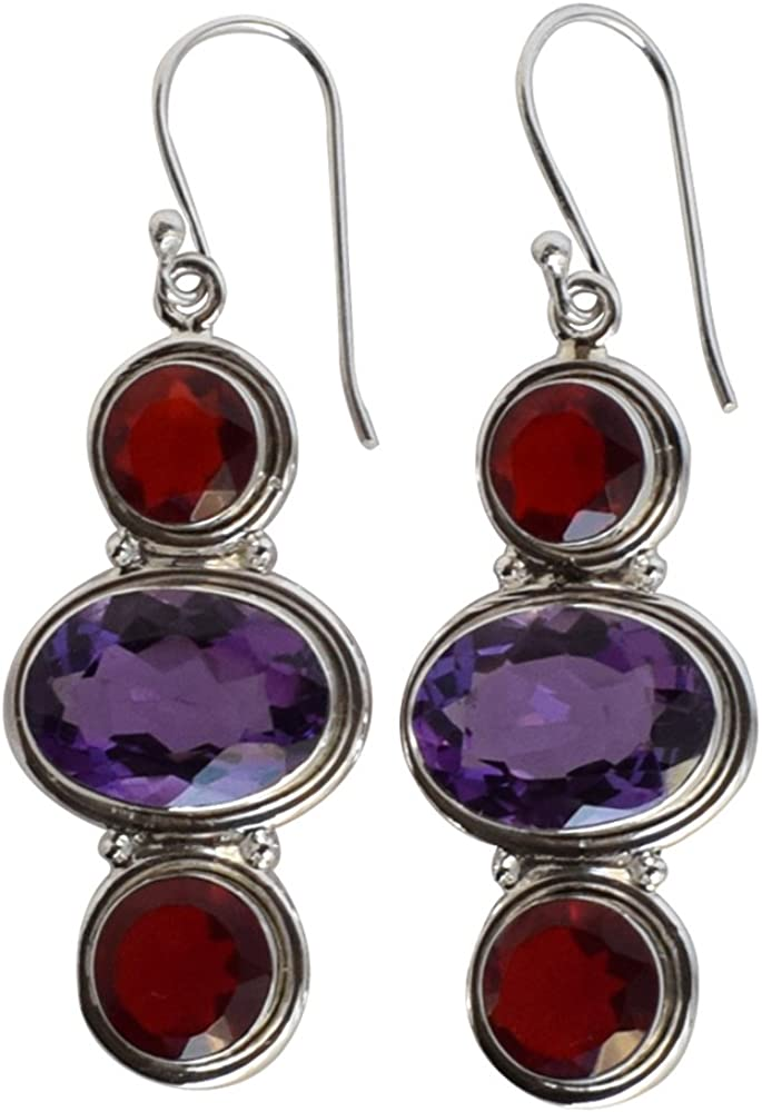 Amethyst Red Quartz Gemstone 925 Max 88% OFF Sterling Silver Ranking TOP7 Solid Earring