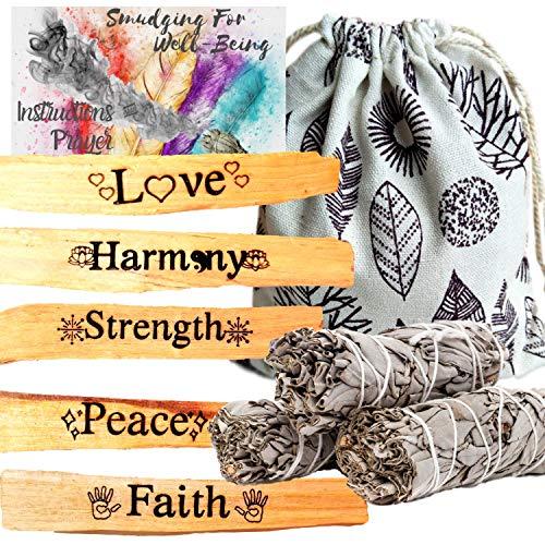 Palo Santo and Sage Engraved Smudge Prayer Ritual Incense Kit, Palo Santo Sticks Etched, Palo Santos Incense Sticks,Instructions,Smudge Bag (5 Intentions Holy Wood, 3 Sage Stick Gift Kit, 10 Piece)