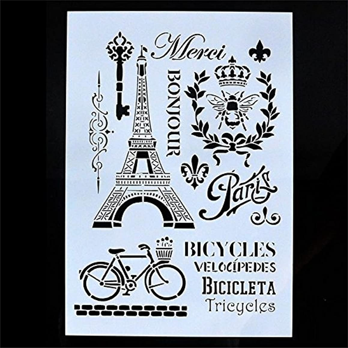 Welcome to Joyful Home 1PC Bicycle Towel Travel DIY Drawing Template Stencil for Journal/Diary/Calendar/Planner/Scrapbook A4 Size Wall Painting Stencil