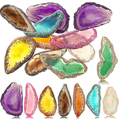 16 Piezas Rebanadas de Ágata Pulida Colgantes de Ágata Perforada Rebanadas de Piedra de Ágata Natural Irregular de Colores para DIY Campanas de Viento Hacer Joyas