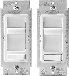 Leviton 6674-P0W SureSlide Universal 150-Watt LED and CFL/600-Watt Incandescent Dimmer, White (2 Pack)