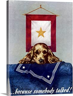 GREATBIGCANVAS Gallery-Wrapped Canvas Digitally Restored Vector war Propaganda Poster. Because Someone Talked! by John Parrot 30