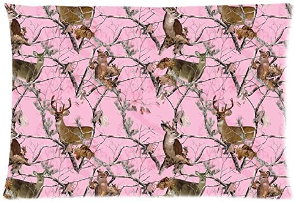 Pink Realtree Camo Custom Soft Cozy Zippered Rectangle Pillow Case Pillowcases Cover Size 20 X 30 Two Sides