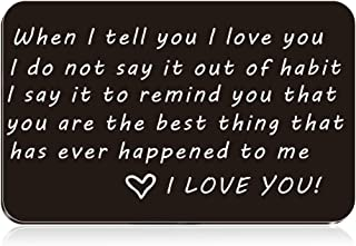 Stainless steel Engraved Wallet Mini Love Note Insert Card - Birthday Gifts for Men/women Wallet Card,Anniversary Cards for Husband/wife, Boyfriend/girl friend, Deployment Gift
