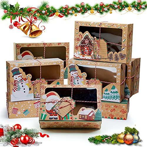 9 Pezzi Scatola di Biscotti di Natale Scatola di Torta di Natale Scatola Regalo con Finestra Trasparente Scatola di Cupcake per le Feste di Natale Scatola di Decorazione Regalo di Natale fai da te