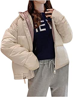 iLOOSKR Winter Thicken Cotton Blend Down Jacket Women's Hooded Long Sleeve Zipper Covered Button Pocket Jacket Coat