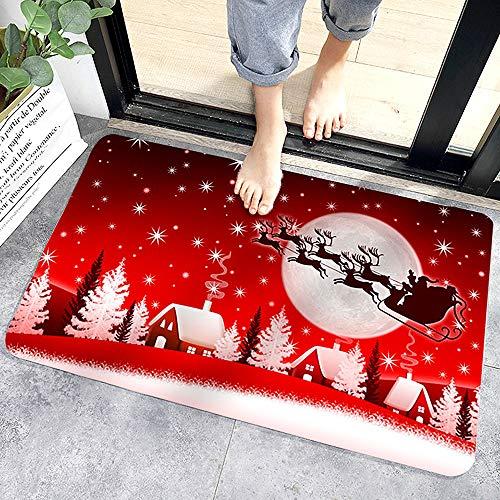 WELLXUNK® Tapis de Sol de Noël, Tapis D'intérieur Tapis Porte Antidérapant, Motif de Noël de Décor à la Maison D'intérieur de Tapis de Paillasson de Noël, Tapis de Bain
