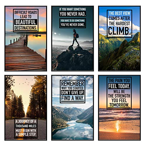 Inspirational Wall Art, Motivational Posters, Wall Art for Office, Motivational Posters For Office, Inspirational Posters, Inspirational Poster for Classroom Decor, Office Wall Art, Set of 6 11x17 in.