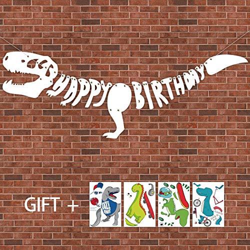 Geefuun Dinosaur Dino Happy Birthday Banner + Make-A-Dinosaur Sticker Set--Fossil Jurassic T-REX Garland Party Decoration Supplies