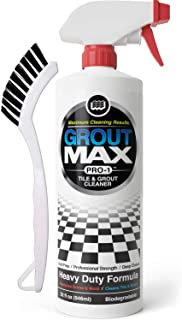 Grout Max Pro-1 Tile & Grout Cleaner (32oz bottle Plus Grout Scrub Brush) Removes Years of Dirt Build-Up - Clean Grout Fast, Acid-Free, Biodegradable, Brightens Tile & Grout, Restore Grout, Clean Tile