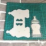 CTOBB Babyflasche Bagtopper Shaker Metall Stanzformen Schablonen für DIY Scrapbooking Stempelalbum Dekorative Prägung DIY Papierkarten, Flasche Bagtopper
