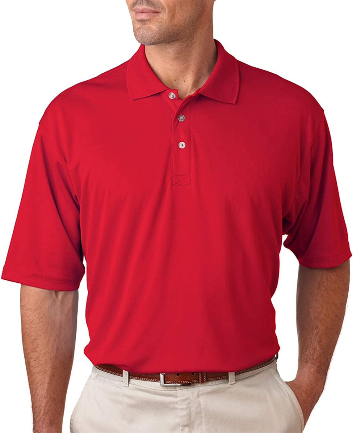 UltraClub Men's Tall Cool & Dry Sport Polo, Red, 2XLT