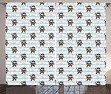 ABAKUHAUS Guardería Cortinas, Infantil Pirata en Rayas, Sala de Estar Dormitorio Cortinas Ventana Set de Dos Paños, 280 x 260 cm, Azul bebé Multicolor