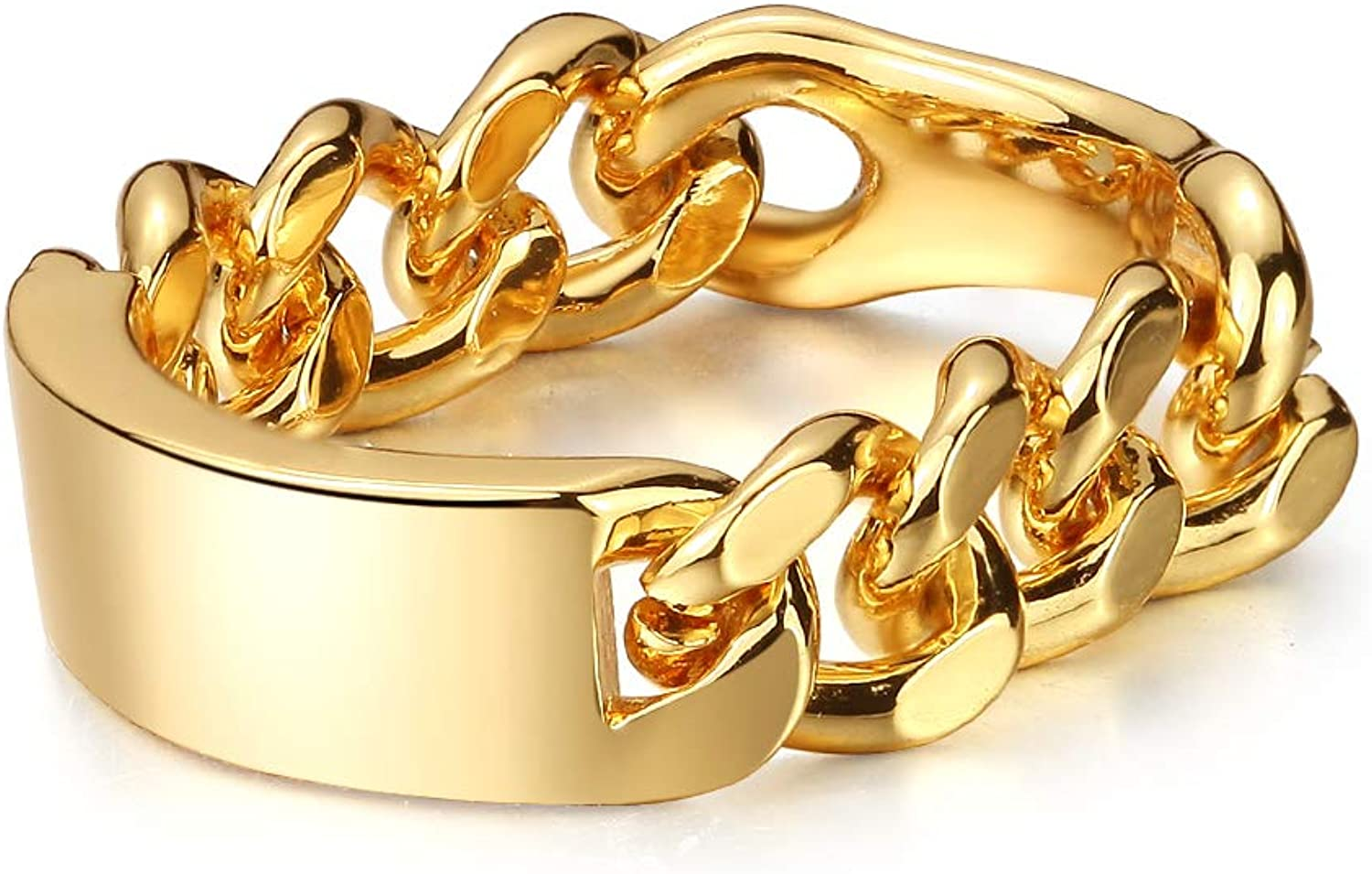 Minimal Gold Signet Rings for Women Wide Chunky Stackable Statement Chain Band 18k Gold-Plated Brass