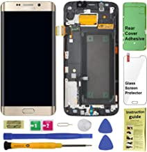 Display Touch Screen (AMOLED) Digitizer Assembly with Frame for Samsung Galaxy S6 Edge (5.1 inch) Sprint (G925P) / Verizon (G925V) / US Cellular (G925R4) (for Phone Repair) (Gold Platinum)