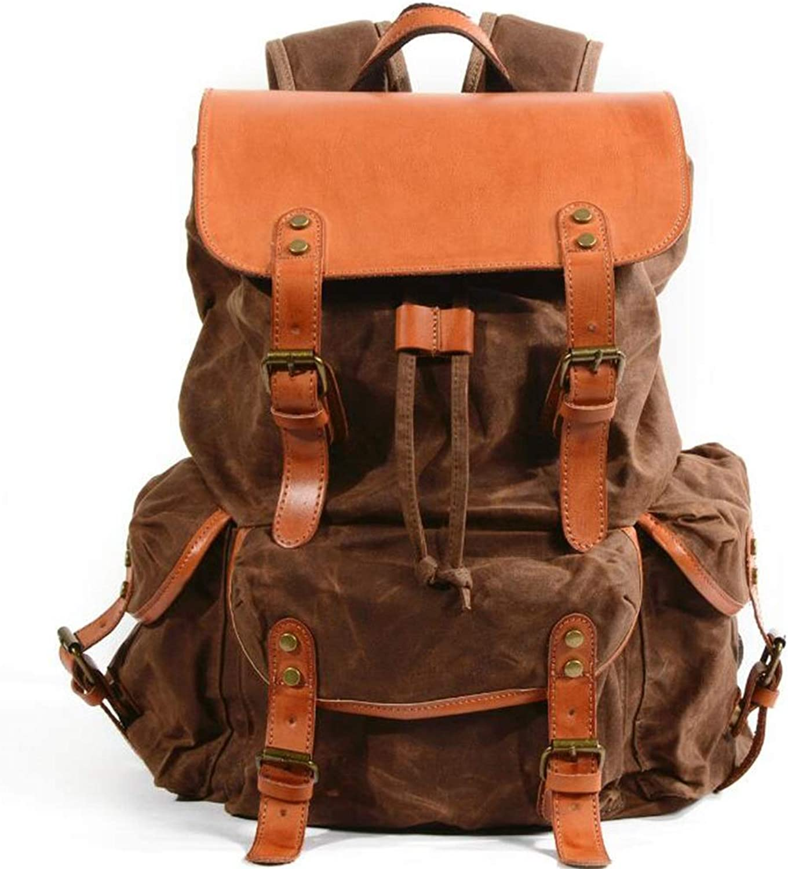 WEATLY Herren Canvas Rucksack Rucksack Rucksack Reisetasche College Schultasche Rucksack für Camping Wandern Bag (Farbe   braun) B07N7YKHGD  Haltbarer Service 15a5b5