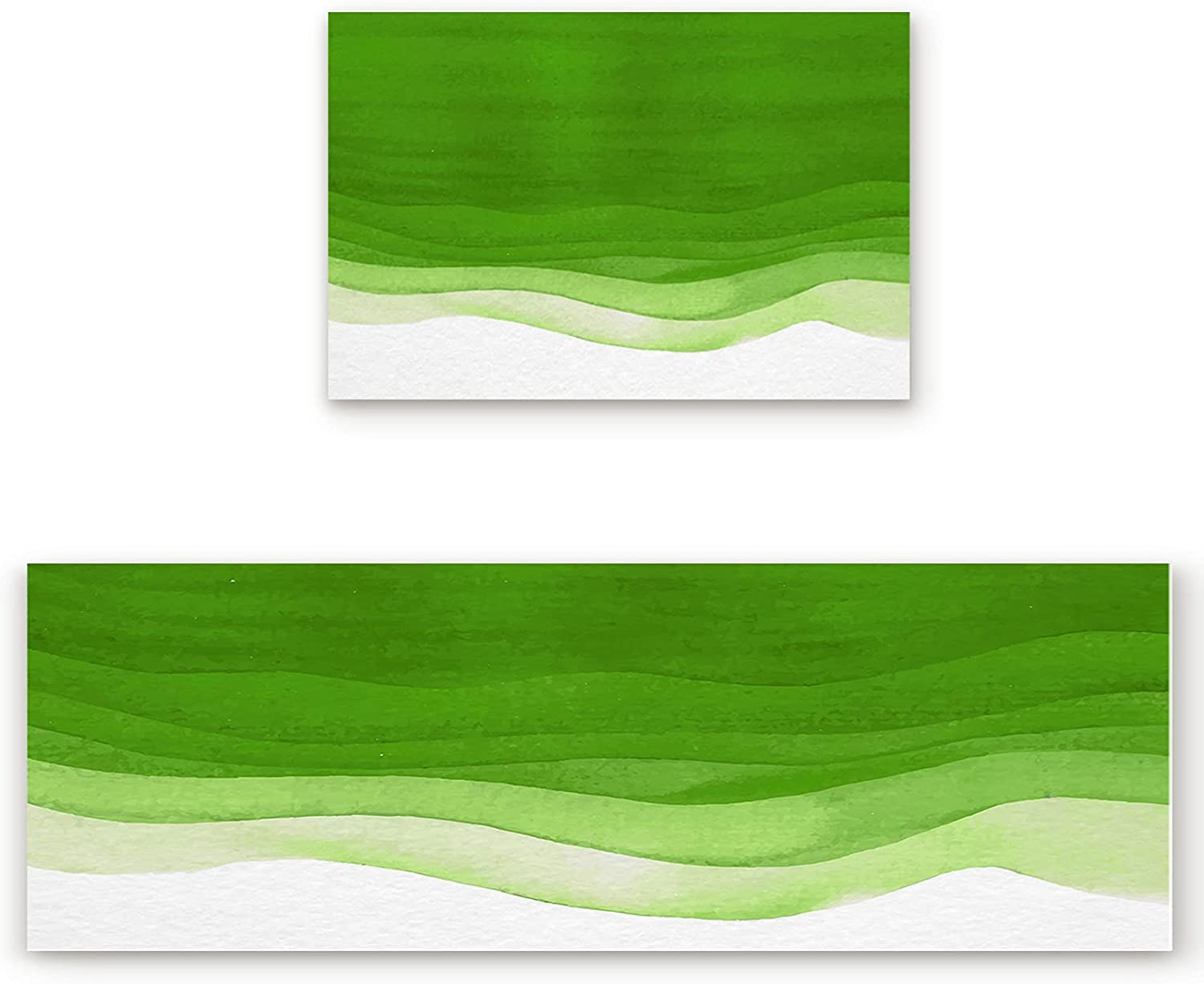 Kitchen Bath Rug Runner Set Mail order cheap 2 White Max 86% OFF Water Piece Ombre and Green