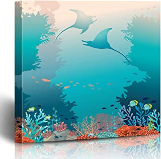 Ahawoso Canvas Print Wall Art 12x12 Inch Two Stingrays Coral Reef Underwater Creatures On Blue Modern Artwork Printing Home Decor Wrapp Gallery Painting