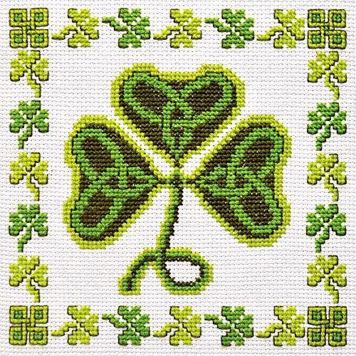 Irish Cross Stitch Kit 'Shamrock' - Symbol of Ireland Clover Embroidery - DIY Handmade Gift