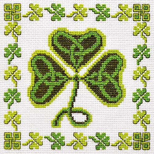 Irish Cross Stitch Kit 'Shamrock' - Symbol of Ireland Clover Embroidery - DIY Handmade Gift