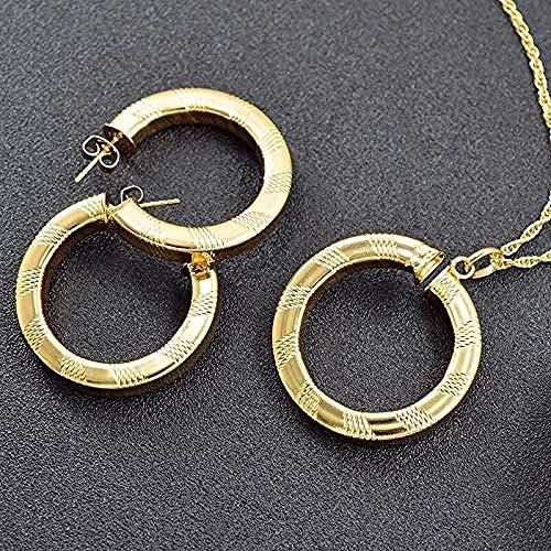 ZPPYMXGZ Co.,ltd Collar de Cobre joyería Conjunto para Las Mujeres Pendientes Collar Colgante para Partido patrón geométrico joyería Collar Longitud 45cm