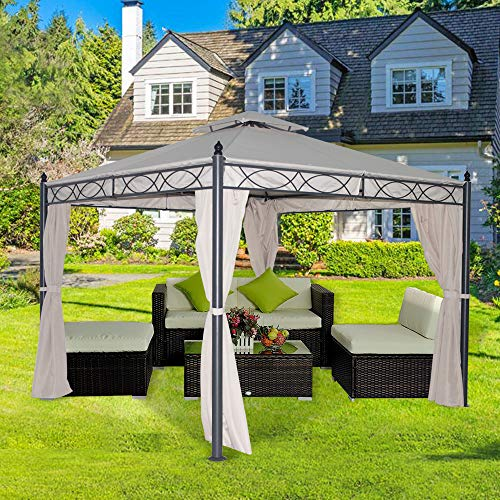Greenbay 3x3m Deluxe Metal Gazebo Pavilion Awning Garden Sun Shade Canopy Shelter Party Tent Sand