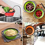 Kitchen Collapsible Colander Set of 3, HJYuan Silicone Colander Strainer Over the Sink Food Folding Water Filter Basket… 15 【 Foldable and Space Saving Design】Ergonomic, space-saving design. Strainers are foldable, so they do not take up much room in your kitchen cupboards. 【Safe and Comfortable】Using environmentally friendly Rubber and plastics materials,no smell.And it is very soft and comfortable. Closed home partner for life. 【Easy to Use】This round colander used for draining most foods like spaghetti, pasta, potatoes, broccoli, green beans, carrots, spinach and other veggies, to rinse your salad leafs, fruits and fresh vegetables.