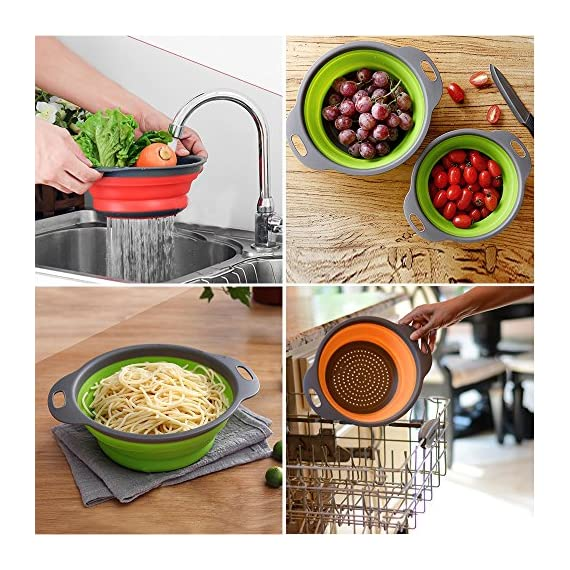 Kitchen Collapsible Colander Set of 3, HJYuan Silicone Colander Strainer Over the Sink Food Folding Water Filter Basket… 7 【 Foldable and Space Saving Design】Ergonomic, space-saving design. Strainers are foldable, so they do not take up much room in your kitchen cupboards. 【Safe and Comfortable】Using environmentally friendly Rubber and plastics materials,no smell.And it is very soft and comfortable. Closed home partner for life. 【Easy to Use】This round colander used for draining most foods like spaghetti, pasta, potatoes, broccoli, green beans, carrots, spinach and other veggies, to rinse your salad leafs, fruits and fresh vegetables.