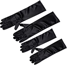 Utopiat Audrey Style Mini Black Satin Opera Gloves Girls Inspired by Breakfast At Tiffany's