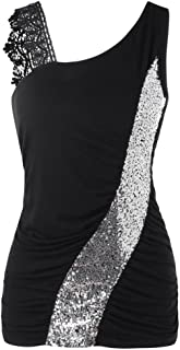 Womens Fashion Lace Glittering Skew Collar Sequined Tank Tops Sleeveless Vest