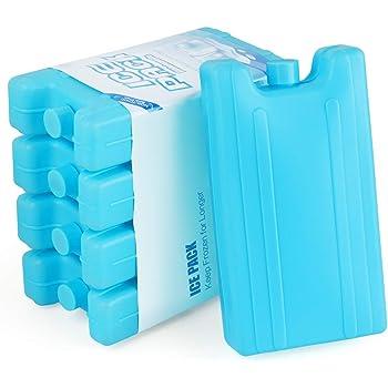 AGOER 5 Blocs Réfrigérants Glacière Pains de Glace Réutilisable 400ml pour Sac Isotherme ou Glacière de Travail,Pique-Nique,Camping