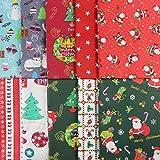 aufodara 10 piezas Navidad Tela Algodon Telas Patchwork 50x80cm 40x50cm 25x 25cm Algodón Para Coser DIY Telas Decorativas Costura Retales Tela Coser Hecho a mano Costura Quilting (U-01, 50 x 40cm)