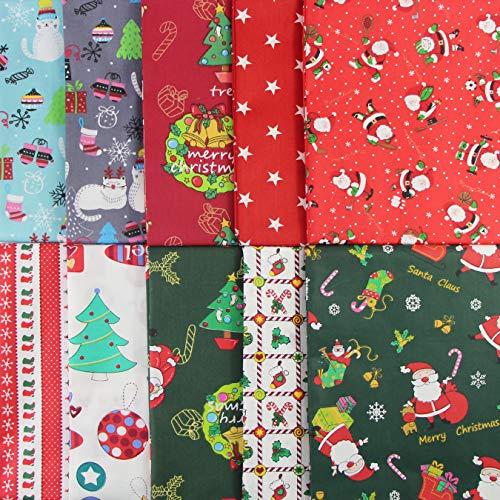 aufodara Natale Tessuto Cotone Stoffa, 10 Pezzi Tessuti Tessuto Cotone Stoffa Patchwork 50x80cm 40x50cm 25x 25cm Cucito Creativo DIY Fatto a Mano (U-01, 50 x 40 cm)