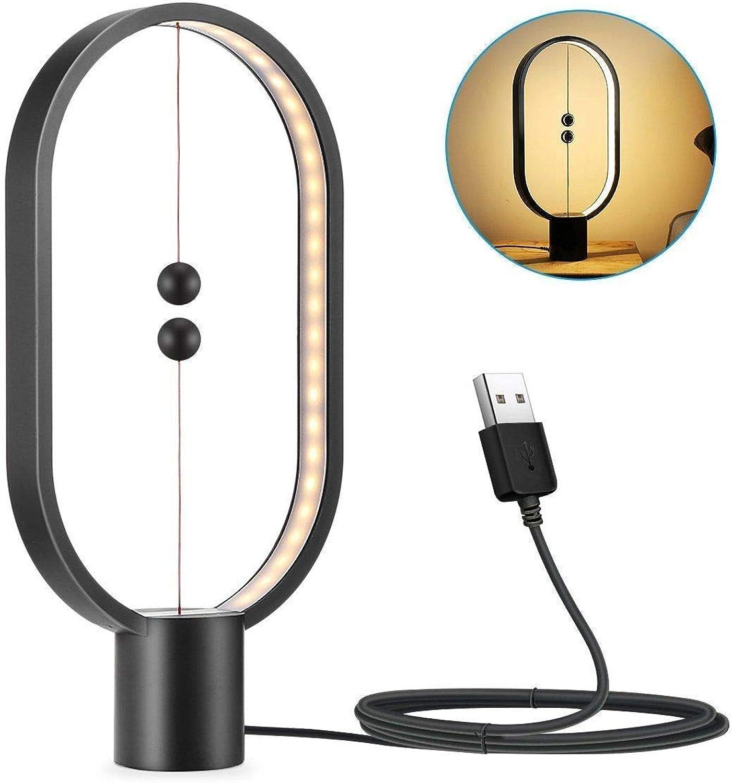 WanVi Heng - Design LED Lampe - Ausgefallene Leuchte für Wohnzimmer  Schlafzimmer in hochwertigem stabilen Holz mit USB Anschluss in warm weiem Licht,schwarz