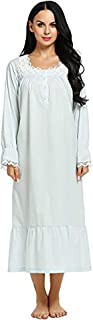 ثوب النوم الفيكتوري من إكوير للنوم قميص نوم قطني طويل الأكمام بيجامة فستان كلاسيكي كاجوال للنساء