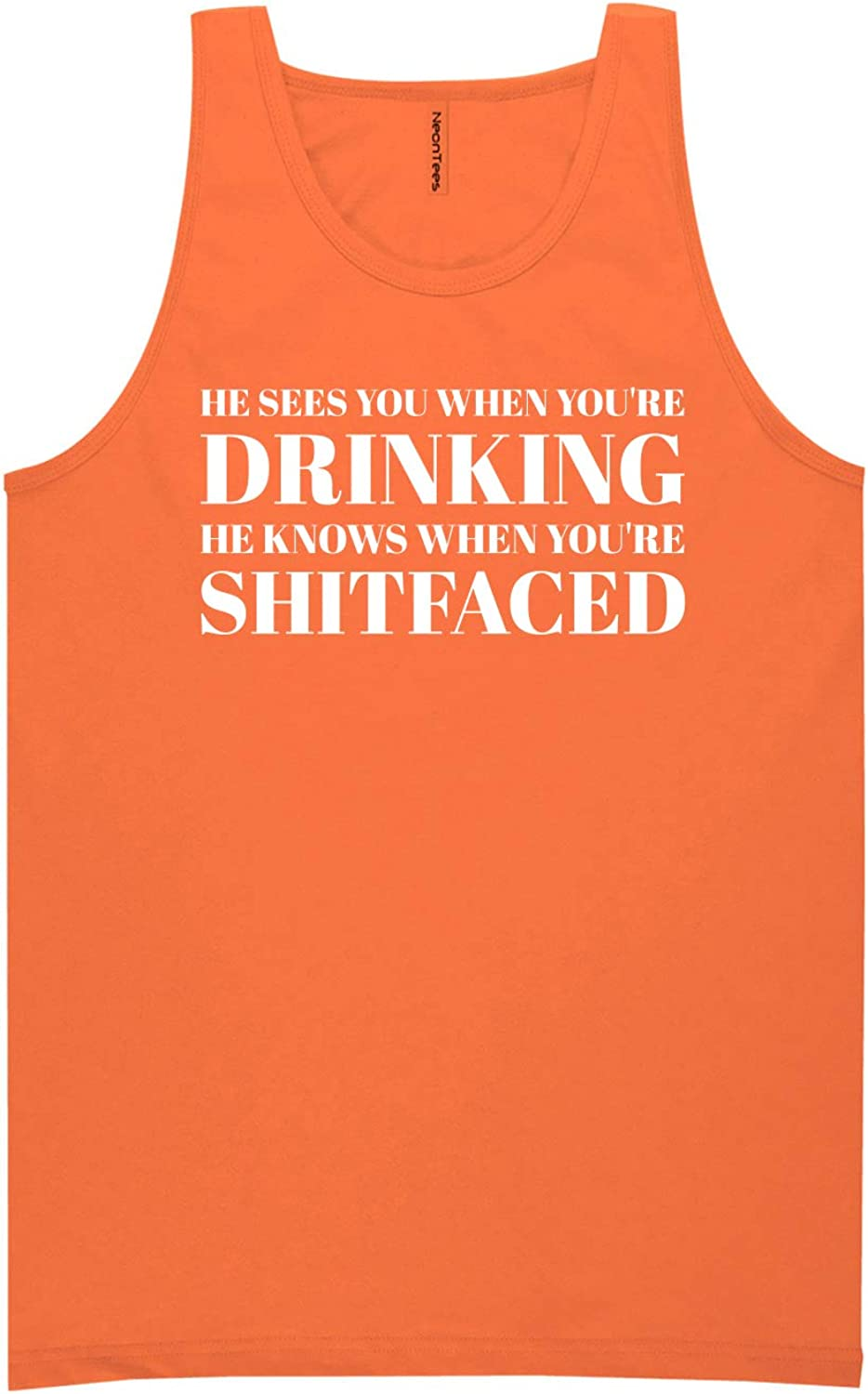He Sees You When You're Drinking Neon Orange Tank Top - XX-Large