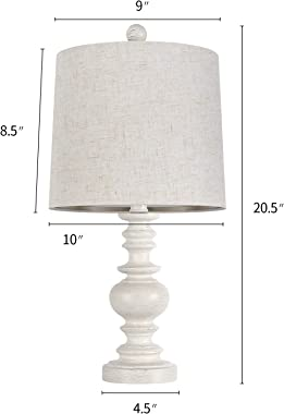 BOBOMOMO Tradition 20.5'' Rustic Table Lamp Set of 2 for Living Room Farmhouse Bedside Desk Lamps Bedroom Nightstand