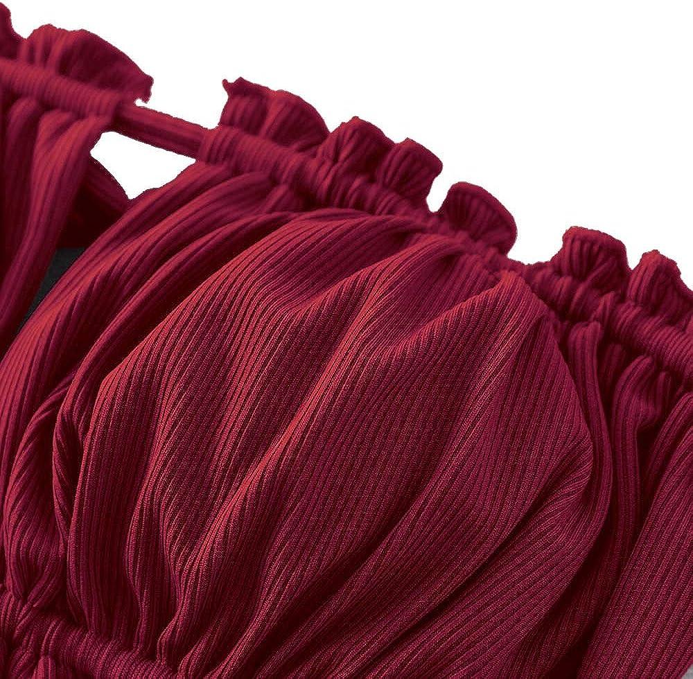 ZAFUL Women's Strapless Ribbed Tie Back Ruffle Cutout Bandeau Bikini Set Swimsuit