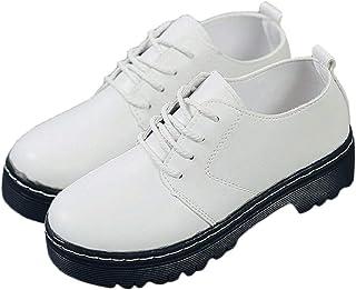 [ジルア] オックスフォード レースアップ シューズ おじ靴 厚底 靴 フェイク レザー タンクソール レディース 白 黒 #072