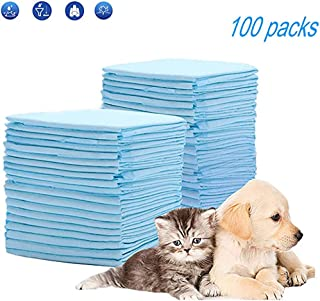 Queta Toallitas de Entrenamiento para Mascotas, 100PCS Juego de Cojines de Orina de Perros Desechables Empapadores Pañales de Mascotas Súper Absorbente (Blanco)