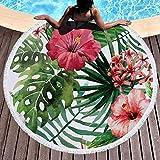 BCDJYFL Microfibra Toalla De Playa Hojas De Flores De Secado Rápido, Toalla De Microfibra para Sauna Toalla De Playa Toalla De Viaje Playa Sauna.-Diámetro: 150Cm