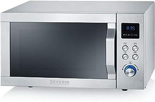 SEVERIN Four Micro-ondes, Gril, Chaleur tournante 1 950W, 25L, 10 niveaux de puissance, Plaque à pizza (Ø 28cm), Inox, MW ...