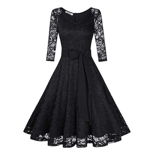 27cf1070f12f KOJOOIN Damen Kleid Brautjungfernkleid Knielang Spitzenkleid Ärmellos  Cocktailkleid(Verpackung MEHRWEG)