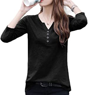 Loyomobak Womens Fashion V-Neck Long Sleeve Solid Color Cotton Slim Fit Casual T-shirt