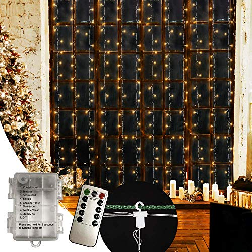 ANSIO Luces De Navidad 300 LED Cortina Luces 3mx3m, 8 Modes Con Control remoto, USB y Potencia de la batería para ventana/hogar/boda/fiesta/decoración navideña Blanco cálido