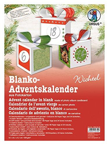 Ursus 17800005 - Adventskalender Wichtel, blanko, mit Zubehör, 24 Geschenkboxen