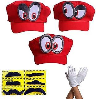 comprar comparacion 3X Super Mario Gorra Odyssey - Conjunto de 3X Guantes y 6X Barba pegajosa Costume para Adultos y niños Carnaval y el Cosplay