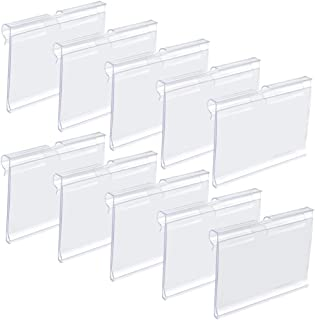 baotongle 50 PCS Clear Color Plastic Wire Shelf Price Label Holder Merchandise Sign Display Holder