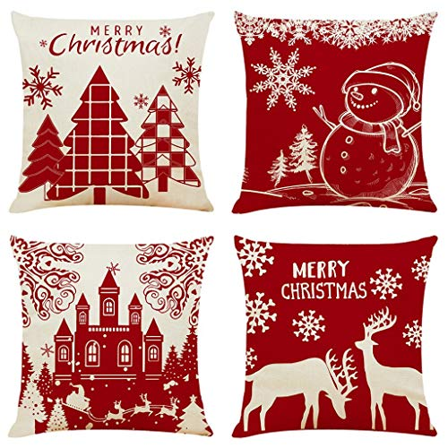 jieGorge Pillow Case Christmas Pattern Sofa Car Throw Cushion Cover Home Decor 4Pc , Decors for Home Christmas New Year (red)