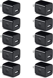 USB Wall Charger, Charger Adapter, VectorTech (10 Pack) 5V/1Amp Single Port Quick Charger Plug Cube for iPhone 7/6S/6S Plus/6 Plus/6/5S/5, Samsung Galaxy S7/S6/S5 Edge, LG, HTC, Huawei, Moto (Black)